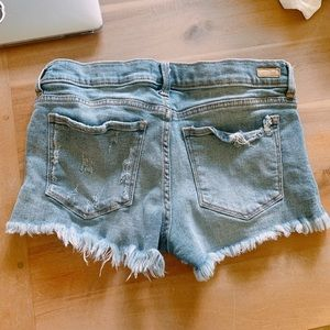 low rise ripped jean shorts